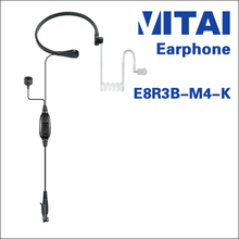 VITAI E8R3B-M4-K Transparent Air Tube Earphone Throat Microphone for 2-way radio