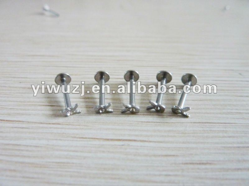 2014 hot wholesale gauges 316L surgical stainless steel gem stone with playboy internally thread labret piercing