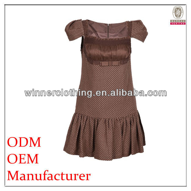 Young lady preferred sexy square neckline chocolate brown dresses