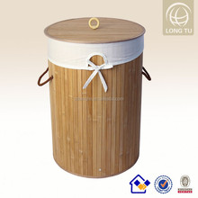 New design and nature color collapsible bamboo laudry hamper with a lid and lining