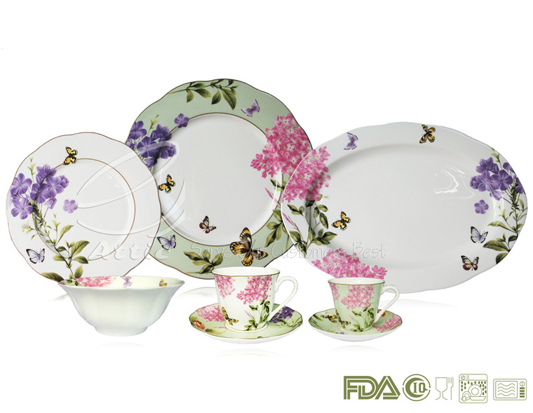 Butterfly Lotus Shaped Fine Bone China 24pcs 84pcs Turkish Dinnerware Set Crockery Vajilla de la Mariposa