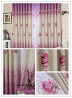 100% polyester curtains blackout fabric window drapery with printing flower