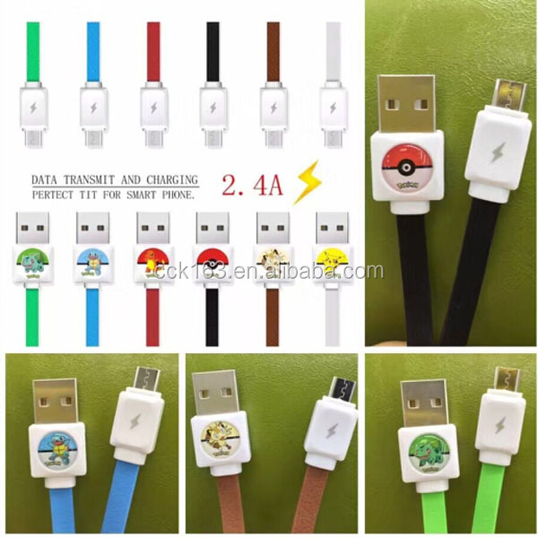2016 HOT !!! Fashion design Pokemon micro usb cable ,1m length flat design usb cable