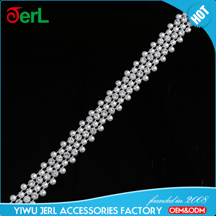 Hot sale rhinestone cup chain roll plastic pearl trimming for decoration