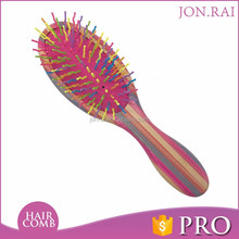 Professional Bamboo Massage Hair Brush Colorful Easy Clean Plastic Hair Brush