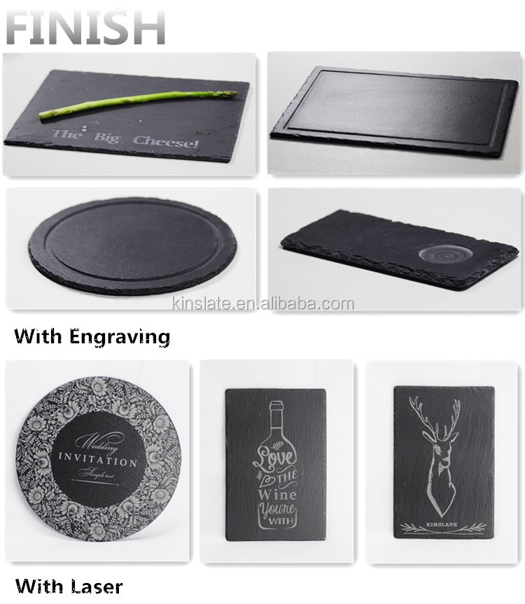 China best round black slate plate for hotel
