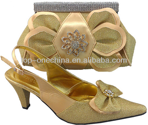 2013 high quality design of shoe and bag matching sets for party(TSH135-gold)