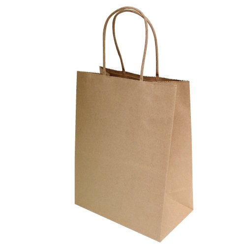 50/100 <strong>pack</strong> on stock recycled craft brown paper bag with handles for parties/gifts/shopping/retail