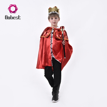 Glossy Halloween Party Cosplay King Of Wands Capes With Crown Kids Costumes