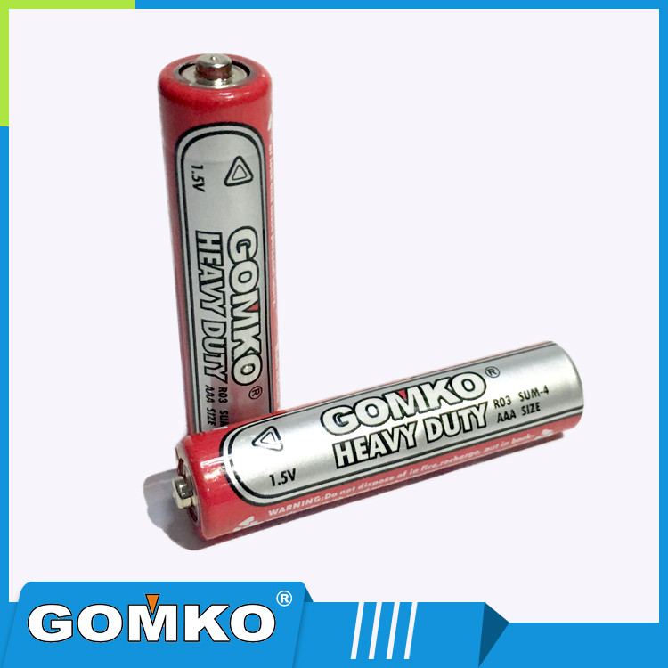 AAA R03 UM4 1.5V carbon zinc pvc jecket battery
