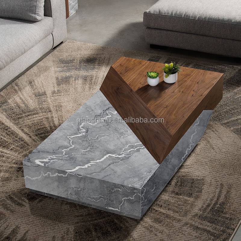 contemporary fashion natural marble coffee table , walnut color MDF center table,modern side marble table