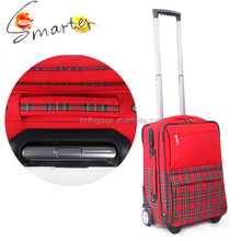 Checked printed nylon fabric suitcase luggage set