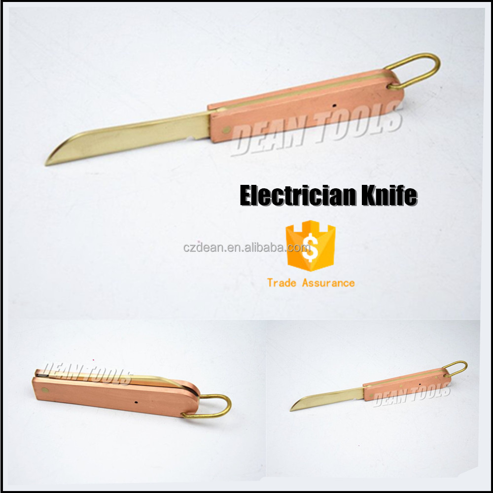 Cable Folding Striping Curved Non Sparking Safety Copper Alloy Electrician Knife ,61*113mm