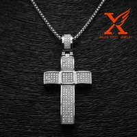 Stainless Steel Silver Simulated Diamond Short Pave Set Cross In White Gold Finish