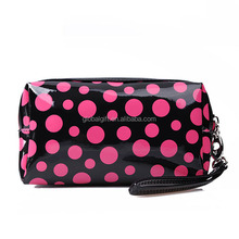 Rectangular Small Travel Size Zipper Closure Polka Dots Cosmetic Makeup Purse Storage Organizer Bag for Women