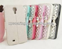 Diamond leather case for Samsung Galaxy S4, bling bling credit card case for Samsung I9500