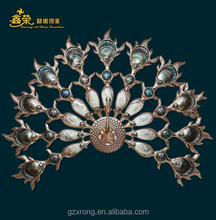 Luxury peacock wall hanging home peacock wall decoration with polyresin BFR -1401