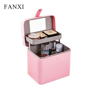 FANXI Wholesale custom pink PU leather cosmetic organizer pouch luxury cosmetic packaging