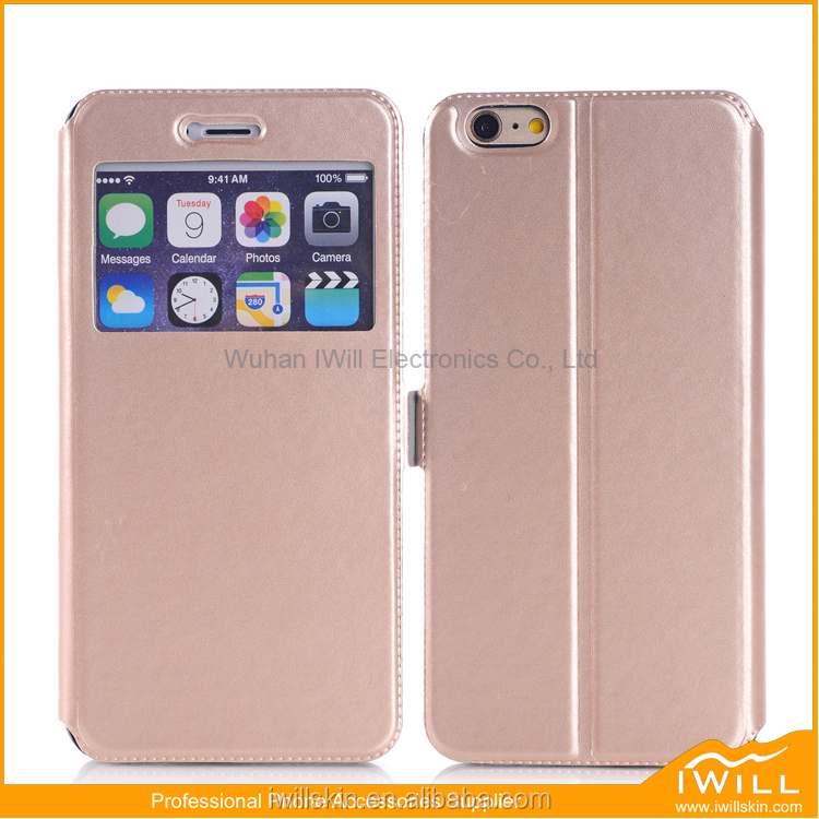 Dormant Leather Shell For iPhone 6S Case , View Window Cell Phone Wallet Cover For iPhone 6S Smart Skin