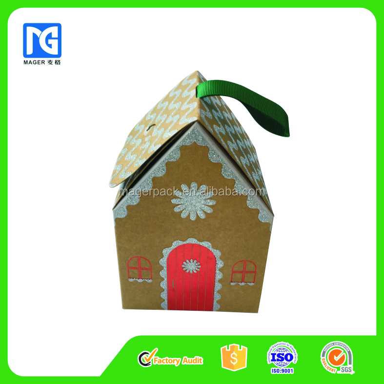 Christmas Kraft Paper Gift Packaging Box with Ribbon Handle