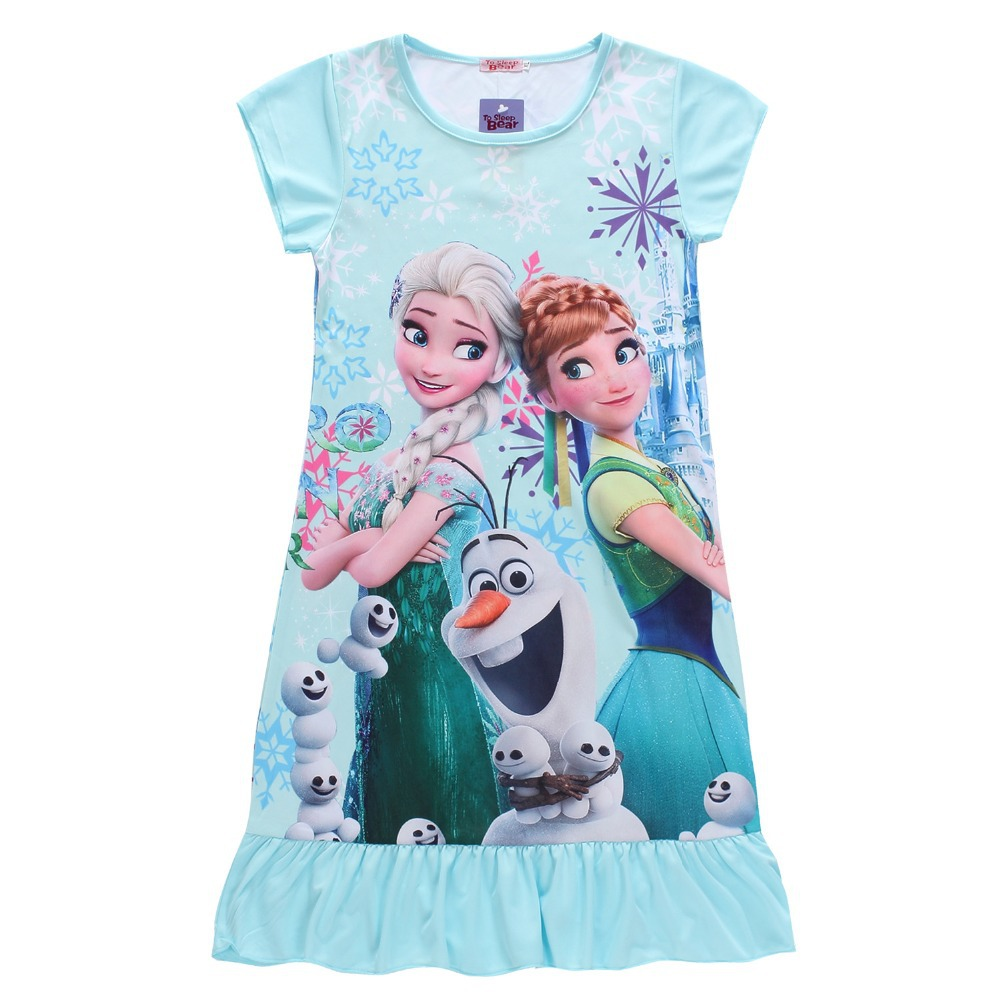 Frozen Anna Elsa Girls Kids Cotton Short Sleeve T-shirt Summer Casual Costumes