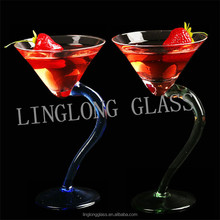 custom glassware manufacturer/ cocktail glass/margarita glass cup with curved stand
