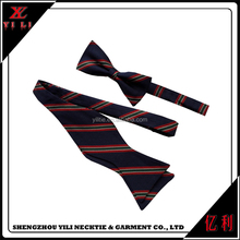 100% silk Stripe school design double sided bow tie self tie