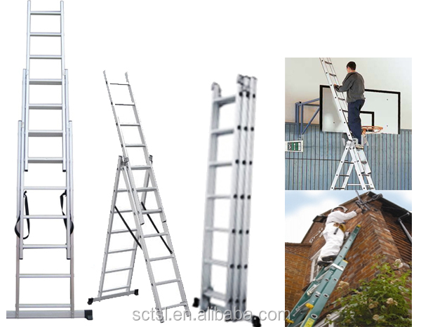 2 sections 3 sections Aluminium Telescopic Step ladder
