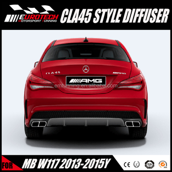 High quality pp material CLA Class W117 CLA45 styling rear diffuser for MB CLA class Sport models CLA200 CLA260 2013-2016Y