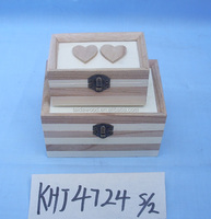 High quality and delicate hexagon wooden box for jewelry painting two heart on the lid KHJ4724S/2