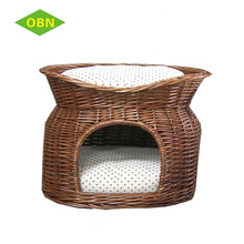 China custom nice quality beautiful antique pet house wicker dog bed indoor cat house for sale