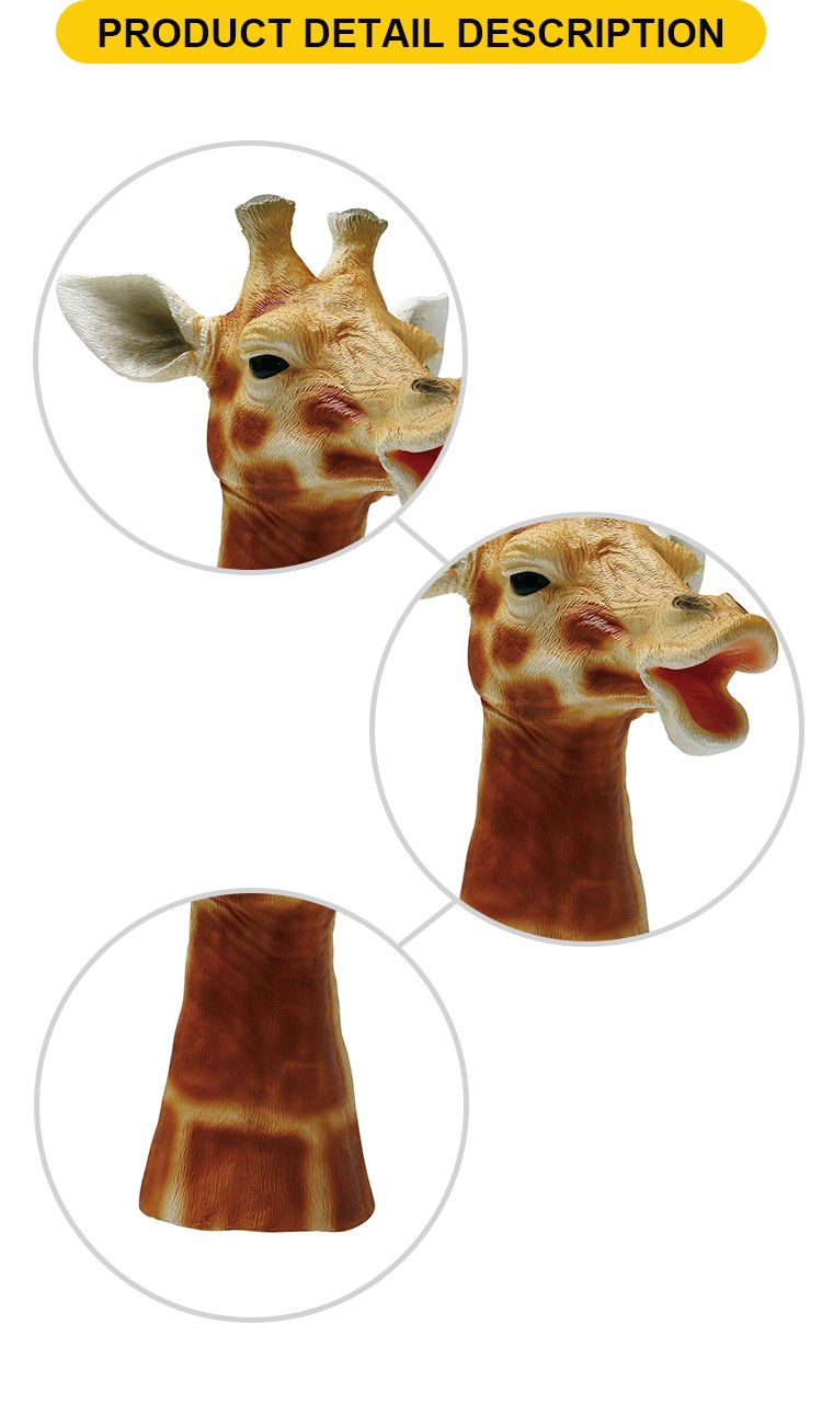 Hot sale soft plastic giraffe feature realistic hand puppet