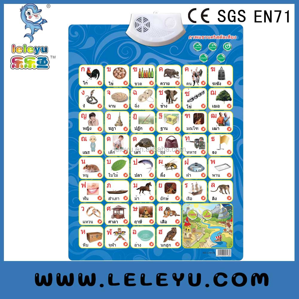Early education learning Electronic battery sound voice talking wall chart for child study