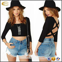 China OEM new Custom design Fashion Women Sexy Backless Blouse Casual Half Sleeve plain halter crop tops wholesale Crop Top