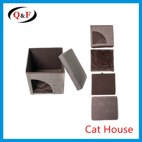 Portable custom pet cube soft cat play house