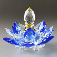 handmade antique lotus flower crystal perfume bottle for car decoration