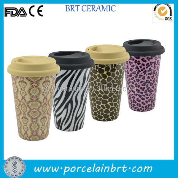 Colorful ceramic double wall tumbler with silicone lid