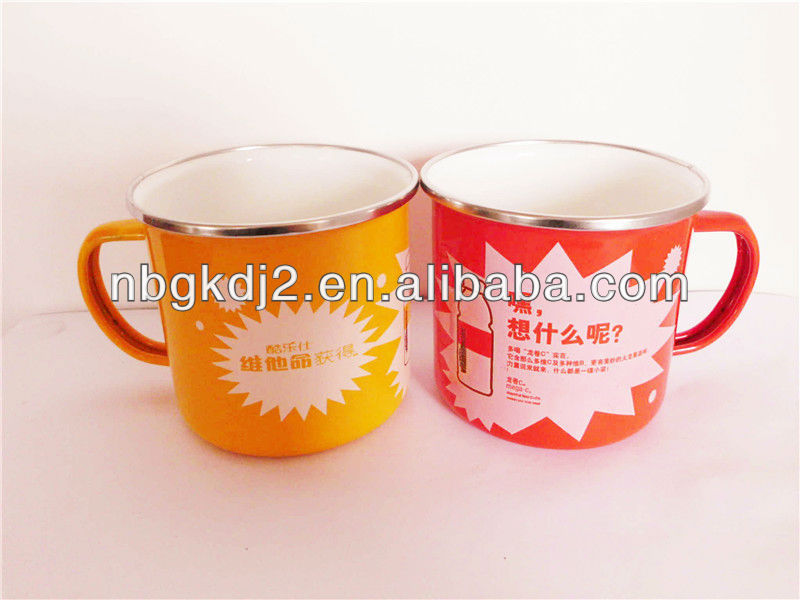 enamel metal mug with PP lid and SS rim