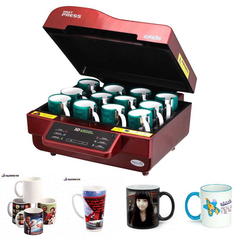 Sunmeta double station sublimation heat transfer paper press machine cup coffee magic mug printing machine for sale
