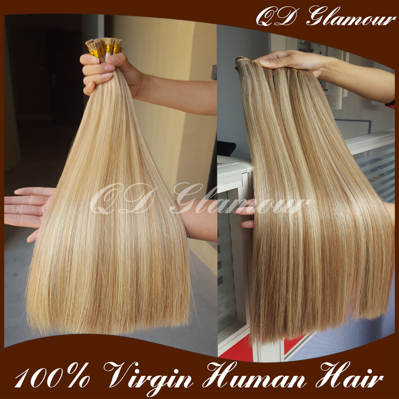Factory Prices 9A brazilian double drawn remy human Flat tip/I tip hair extensions