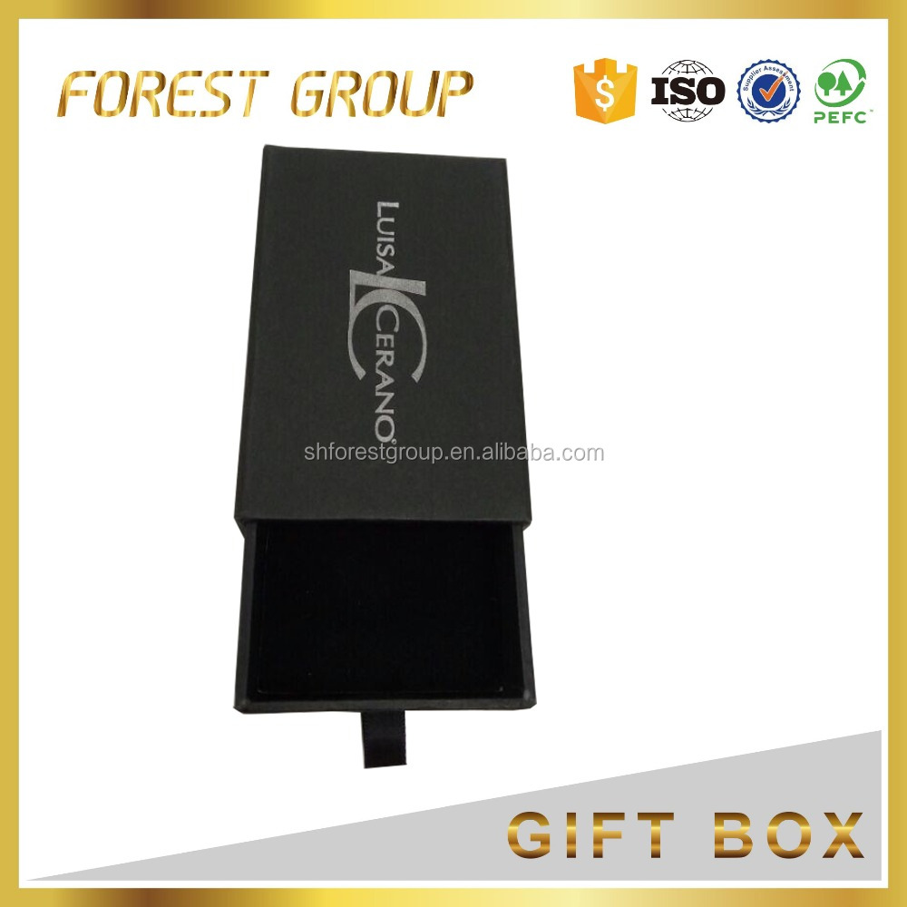 Custom matte black sliding drawer gift box with silver hot stamping logo printing drawer box packaging