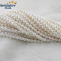 perfect rice top AAA quality wedding freshwater fashion pearl string 7mm