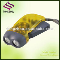 Logo printing 2 LED dynamo hand crank torch Hand-pressing flash light for promotion