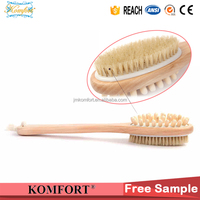 Wooden short dry skin brush bath scrubber back massage shower head brush