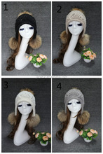 Winter Girls Pom Pom Hat/ Knitted Acrylic Earflap With Raccoon Fur Balls Manufactory Price