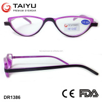 2016 Fancy triangle frame high nose bridge slim cheap plastic reading glasses with CE approval DR1386