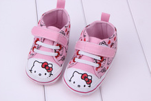 2014 brand new baby shoes hello kitty pink cavans shoes newborn prewalker baby shoes
