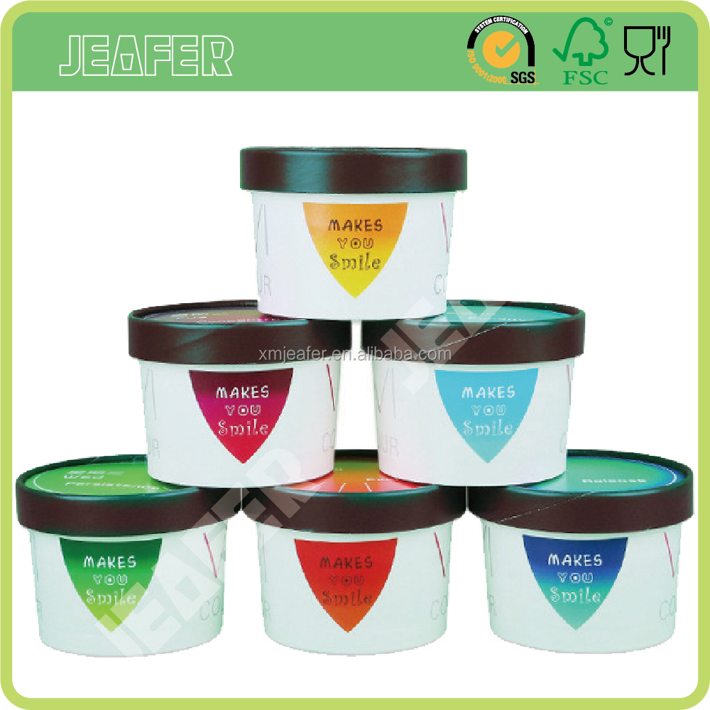 Custom logo paper ice cream cup yogurt container with lid