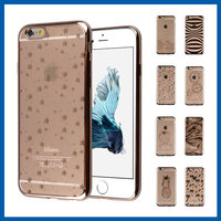 C&T Golden Protective Smartphone Shell Plating Stars Pattern TPU Soft Case for iPhone 6