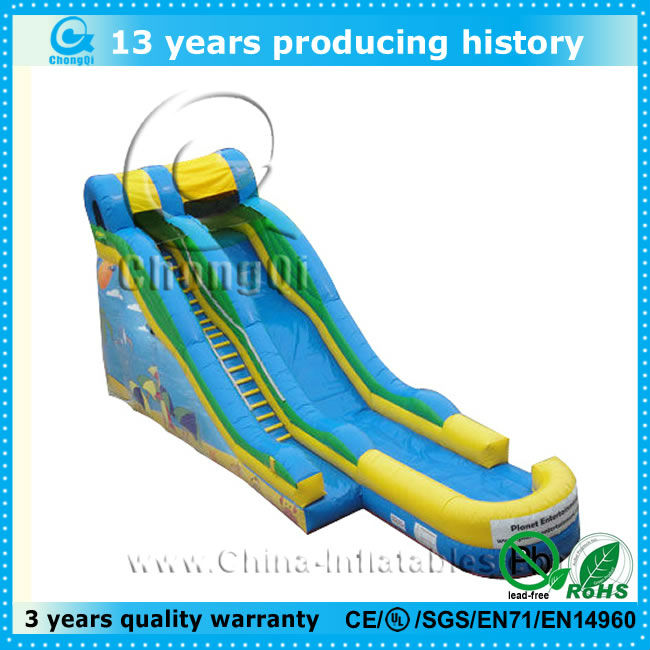 top popular inflatable blue wave water slide